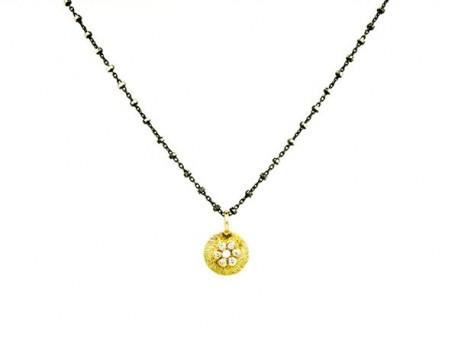 5337da2a53f9 Cadena plata oxidada y colgante oro amarillo de 750mm, con brillantes. -  Lidajoies Barcelona