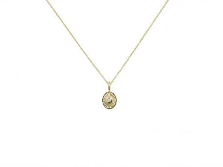 Penjoll d'or groc de 750 mm en forma oval amb 1 brillant natural de 0.02cts.