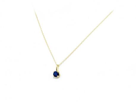Penjoll or groc de 750 mm amb Safir blau natural de 4 mm.