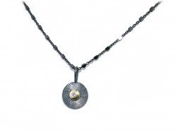Oxidized, scratched and satin silver 925mm pendant, with central mouth in yellow gold and 1 natural brilliant of 0.02cts