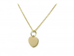 750mm yellow gold pendant in the shape of a heart.