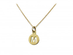 750mm gold pendant, cut initial plate. Possibility of all initials.