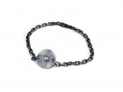 925mm silver bracelet, oxidized and satin, with mouth in yellow gold and natural Brilliant of 0.02cts