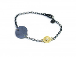 925mm silver bracelet, oxidized and satin, with silver plate and 750mm yellow gold piece with 1 natural brilliant of 0.02cts