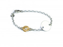 Polished and white 925mm silver bracelet, with silver plate and 750mm yellow gold piece with 1 natural brilliant of 0.02cts.