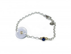 Bracelet with plate and chain in silver 925mm, white and polished