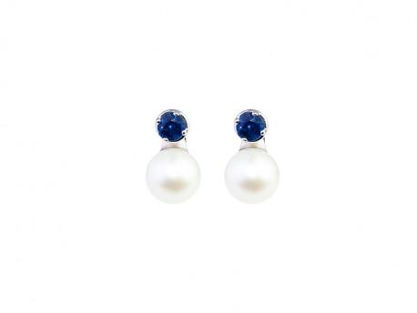 Pendents amb safir blau i parella de perles d'aigua dolça de 8.50mm.