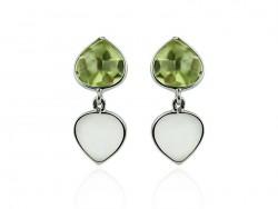 White gold earrings, lemon citrine and moonstone.