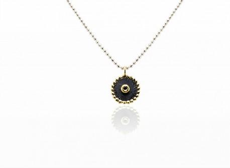1bdb4d9bcb2a Colgante de plata y oro amarillo con diamante negro. - Lidajoies Barcelona