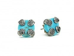 Silver earrings, with black brilliants and natural turquoise.